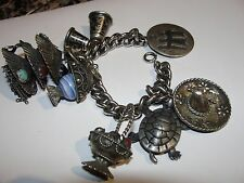 VINTAGE SILVER BRACELET WITH STERLING & PLATE CHINESE SIAM MEXICAN CHARMS