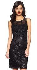 SUE WONG 1920's Gatsby Black Beaded Sequin Embellished Illusion Evening Dress 10