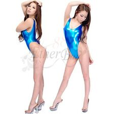 Sexy Shiny One-Piece Leotard Swimwear Bodysuit Thong T-Back Work-Out Swim Suit