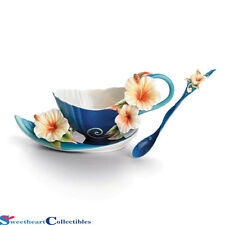 Franz Porcelain Tropical Beauty Hibiscus Cup, Saucer, Spoon