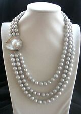 "3rows freshwater pearl gray round 8-9mm necklace 19-23"" wholesale nature amazing"