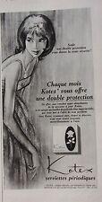 publicité  de presse PROTECTION FEMININE  KOTEX  en 1964  ref. 37781