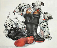 DALMATIAN PUPPIES on Fireman Rubber Boots Cute Pup Vintage 1952  MATTED Picture