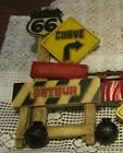 BURWOOD PLASTICS ROUTE 66 CONSTRUCTION SIGN WALL HANGING 1973