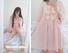 JP Sweet Lolita Flare Sleeve Bow Night Skirt Cute Princess Lace Sleepwear #5120