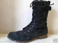 Womens Flat Low Heel Black Leather Comat Lace Up Military Ankle Army Boots Sz 6
