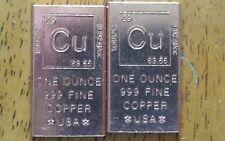 1 x 1oz.999 Copper Element Design Bullion Rounded Edge Ingot Cracker Bar.!!!!