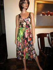 Christian Lacroix Medium Dress Floral Stretch Rayon Multi-Color France Mid-Calf