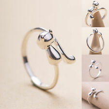 Women 925 Silver Cat Long Tail Rings Animal Adjustable Finger Open Cute Jewelry