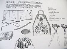 "LA POUPEE MODELE  ""LADY DOLL ACCESSORIES PATTERNS-SET ONE"" for 14""-17"" DOLLS"