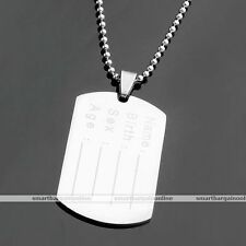 Men Stainless Steel Personalized Engraved Military Army Dog Tag Pendant Necklace