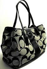 Coach F17424 Black Pat.Leather Trim Satchel Shoulder Purse Bag Handbag Kiss Tag