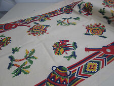 Vintage Printed Linen Fabric Runner Section- Mexican Theme
