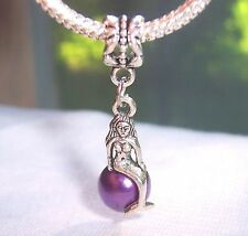 Mermaid Purple Pearl Beach Ocean Dangle Bead for Silver European Charm Bracelets