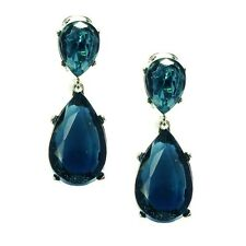 Kenneth Jay Lane SALE! Montana Dark Sapphire Crystal Clip-On Earrings (RRP £115)
