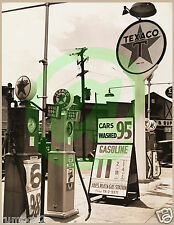 Vintage Black and White Photo Poster/Print/1940's Texaco Gas Station