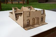 28 mm WWII Double Terrace house Ruin. laser cut 2 mm MDF
