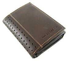 NEW GUESS RODEO BROWN LEATHER CREDIT CARD TRIFOLD ID CASE PASSCASE MEN'S WALLET