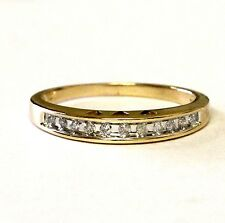 14k yellow gold .11ct SI3 H womens diamond wedding band ring with hearts vintage