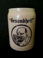 "Antique German stoneware beer stein bierkrug ""Gesundheit "" 1/2 L."