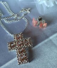 "Sterling Silver 16"" Chain + Crystal Pink/clear Cross &925earings."