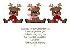 PERSONALISED SET OF 12 THANK YOU FOR THE CHRISTMAS GIFT CARDS WITH ENVELOPES