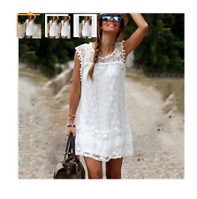 NEW WHITE LACE POM POM DRESS WOMEN'S SMALL, BRIDE, WEDDING FLOWER GIRL, BEACH