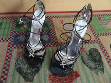 Stunning Black Strappy Diamante Heeled Shoes Sandals Size 6 / 7 Euro 39 Heel 4""