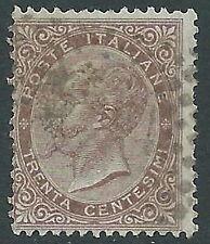 1863-65 REGNO USATO TIRATURA LONDRA EFFIGIE 30 CENT ANNULLO NUMERALI A PUNTI R5