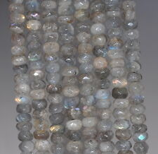 """6X4MM LABRADORITE GEMSTONE GRADE A  FACETED RONDELLE 6X4MM LOOSE BEADS 15.5"""""""