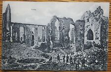 WWI LANGEMARK, BELGIUM, BOMBED CHURCH, SOLDIERS, SCHAAR & DATHE GERMAN POSTCARD