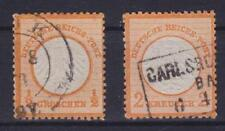 Brustschild Mi Nr. 14 - 15 mit R3 Carlsruhe, K2 gest., Lot Deutsches Reich 1872