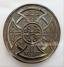 KILT BELT BUCKLE CIRCULAR CELTIC KNOTWORK CROSS ANTIQUED FINISH HIGHLAND KILTS