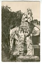 RPPC 1940s East India Woman in Sari by Large Horse Statue Photograph