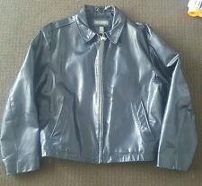 BANANA REPUBLIC Black 100% Leather Full Zip Motorcycle Jacket Coat Mens Large