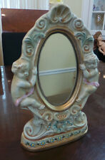 VINTAGE BAROQUE STYLE CERAMIC MIRROR CANDLE HOLDER WITH CHERUBS MADE IN ITALY