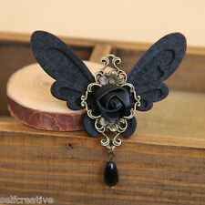 Womens Black Butterfly Beads Drop Flower Rose Alloy Brooch Pin Breastpin Gothic