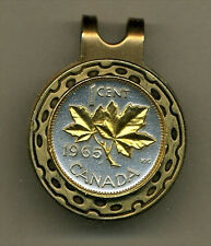 Gold on Silver Coin Golf Ball Marker, Canadian penny Maple leaf HC-156
