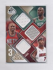 2009-10 SP GAME USED 3 STAR SWATCHES GARNETT /CARTER /O'NEAL JERSEY #13/35