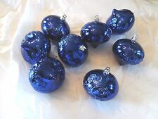 8 Dark Blue 3 IN Finial Shatter Resistant Christmas Ornaments Decoration