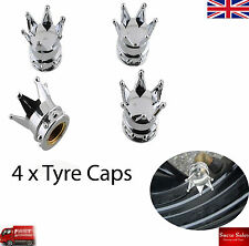 Silver Crown Alloy Car Wheel Tire Tyre Valve Dust Caps Covers Tire Set of 4 UK