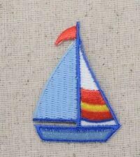 Iron On Embroidered Applique Patch Blue Sailboat Red Flags and Stripes
