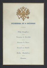Tsar Alexander III Romanov Antique Russian Imperial Royal Luncheon Menu c. 1890
