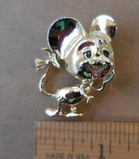 """Cartoon Mouse 1-1/2"""" Brooch Pin Gold Tone with Ribbon on Tail - Cute!"""