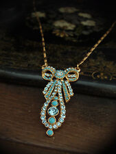 Vintage Butler & Wilson Aquamarine Crystal & Turquoise Bow Drop Necklace