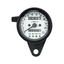 Mini Contachilometri Speedo LED Nero Quadrante Bianco 2:1 KMH Harley e Custom