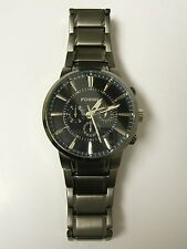 FOSSIL MEN'S FS4358 SMOKE CHRONOGRAPH GUNMETAL BLACK DIAL WATCH - PREOWN