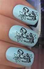 WATER NAIL TRANSFERS SHIP SEA BOAT ANCHORS & LILLY FLOWERS DECALS STICKERS *344