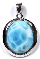 16x20mm Genuine Natural AAA Dominican Larimar 925 Sterling Silver Pendant