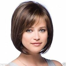 100% Real Hair! Short Dark Brown Natural Straight BOBO Human Hair Wig Hair